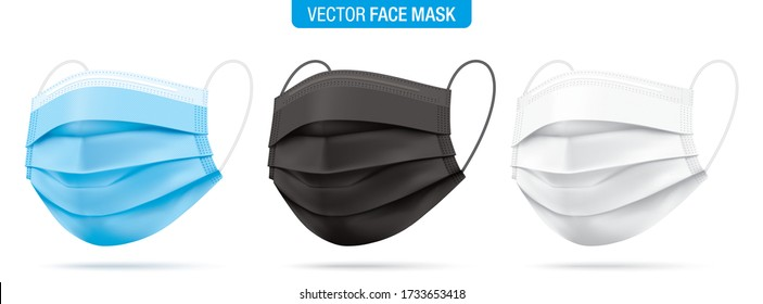 Vector set of surgical face masks in blue, black and white colors. Corona virus protection medical respirator masks isolated on white. Disease and pollution protective mask for personal health safety.