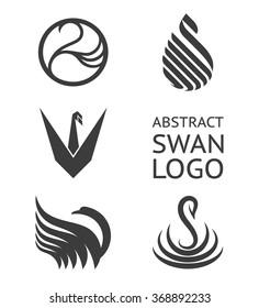 Vector set of swan logo. Logotype for business.