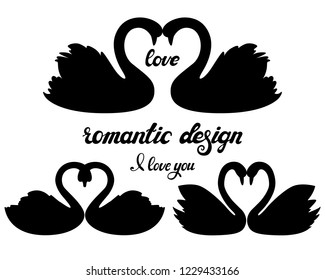 Vector set of swans silhouettes isolated on white background. Romantic bird with hand drawn lettering. Love and wedding. Black and white. Design for decoration, poster, card, invitation.