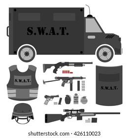 Vector set of swat, police gear. Shield, helmet, shotgun, submachine gun, sniper rifle, bullets, three variations of grenades, bulletproof vest, police bus and pistol. Isolated flat style.