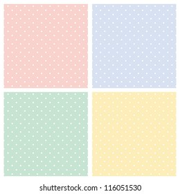 Vector set of sweet seamless patterns or textures with white polka dots on pastel, colorful background: baby pink, blue boy, sunny yellow and spring green