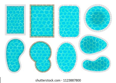 Vector set. Swimming pools of different shapes. Top view.