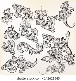 Vector set of swirl vintage ornaments for design