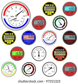 vector set of switches  and digital manometers. Rasterized version also available in portfolio.