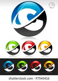 Vector set of swoosh C logo icons
