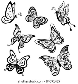 Vector, set symbolical butterflies, hand-draw monochrome contours on a white background