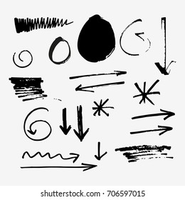 Vector set of symbols and arrows. Hand drawn elements for design.
