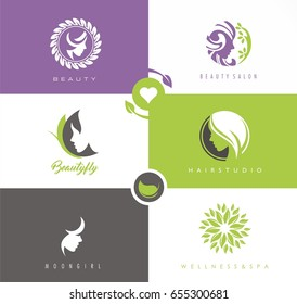 Vector set of symbols and logo designs ideas with women portrait silhouettes. Elegant and classy graphics collection for spa, wellness, beauty salons and hair studios.