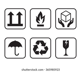 vector set of symbols for packaging of cardboard boxes