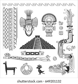 Vector set of symbols, patterns, deities of the Indians of South America. Black and white graphics.