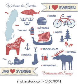 Vector set with symbols of sightseeings and landmarks of Sweden and map