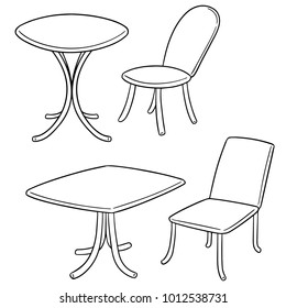 vector set of table and chair