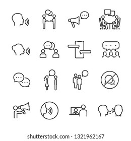 Vector set of talking people line icons.