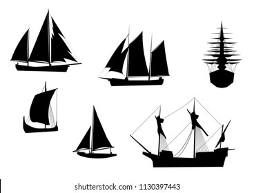 vector set of tall ships , acient vessels and boats