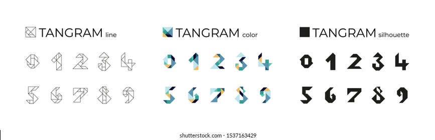 Vector set of tangram numbers consisting of line, color and silhouette illustrations. Isolated icons on a white background. Tangram children brain game cutting transformation puzzle vector set.