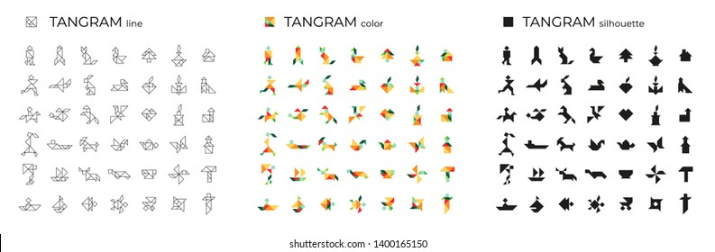 Vector set of tangrams consisting of line, color and silhouette illustrations. Isolated icons on a white background. Tangram children brain game cutting transformation puzzle vector set.