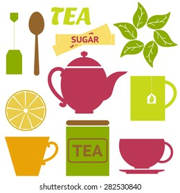 vector set of tea