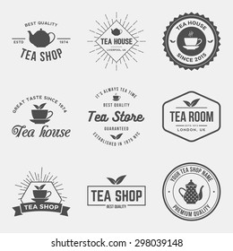 vector set of tea shop labels, badges and design elements