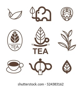 Vector set with tea themes in the trendy linear style. It can be used for printed products in cafes and restaurants