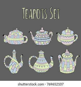 Vector set of teapots in Scandinavian style. Isolated objects.