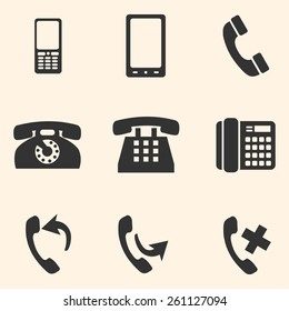 Vector Set of Telephone Icons