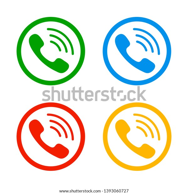 Vector Set Telephone Icons Phone Receiver Stock Vector