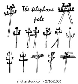 Vector set of telephone poles. Hand drawn of  high voltage electric poles.