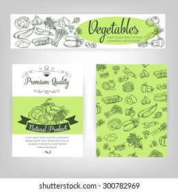 vector  set template banners with  draw vegetables