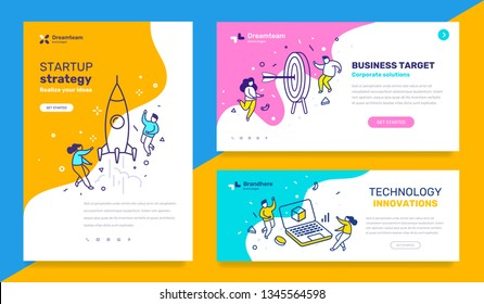 Vector set of template with business illustration with people on color background. Concept of startup strategy, technology, business target with text. Line art style design for web page, site, poster