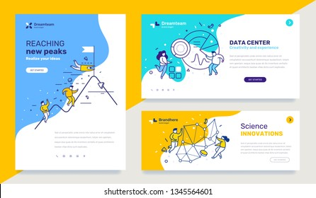 Vector set of template with business illustration with people on color background. Concept of success, data center, innovation with text. Line art style design for web page, site, poster, presentation