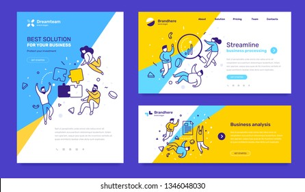 Vector set of template with business illustration with people on color background. Concept of solution, streamline, analysis with text. Line art style design for web page, site development, poster