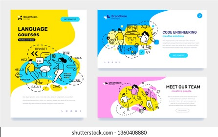 Vector set of template with business illustration with people on color background. Concept of education, engineering, teamwork with text. Line art style design for web page, site, poster, banner
