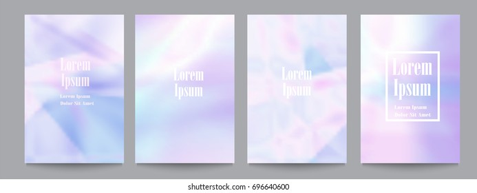 Vector set of template with holographic soft pastel backgrounds.Trendy geometric covers design for posters,magazines,cards,covers,flyers