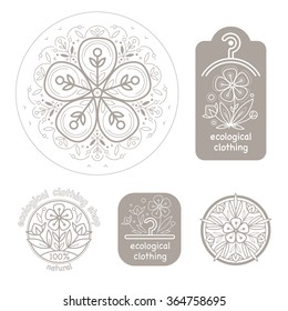 Vector set template label style of organic design with image decorative flower flax. Modern illustration for stores of organic clothing, textiles, stuff for children.