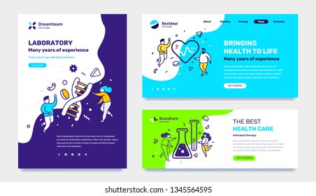Vector set of template with medicine illustration with people on color background. Concept of laboratory, healthy life, health care with text. Line art style design for web page, site, poster