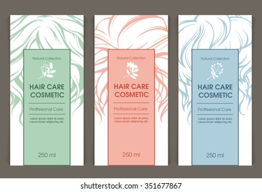 Vector set of templates color packaging hair care cosmetic, label, banner, poster, identity, branding. Curls tresses hair, floral design elements. Design for shampoo, conditioner, mask, cosmetics