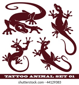 vector set: templates gekko for tattoo and design on different topics