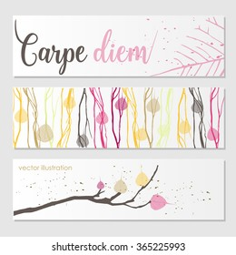 Vector set of templates organic style label, banner, poster.Vector Organic Style Card