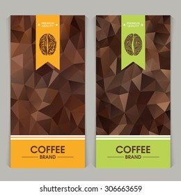 Vector set of templates packaging coffee, label, banner, poster, identity, branding. Abstract color background with ornamental design elements - coffee bean.