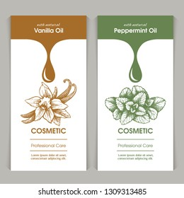 Vector set of templates packaging cosmetic, label, banner, poster, identity, branding. Stylish design with sketch illustration of vanilla and peppermint. Hair care, skin care. Natural oils.