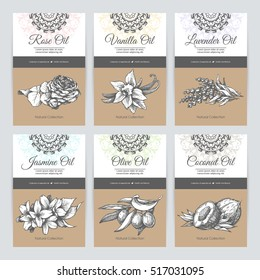 Vector set of templates packaging cosmetic, label, banner, poster, identity, branding. Stylish design with ornamental  and sketch illustrations. Hair care, skin care. Essential oils.