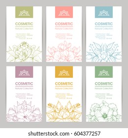 Vector set of templates packaging cosmetic, label, banner, poster, branding. Stylish design with floral illustrations. Hair care, skin care.