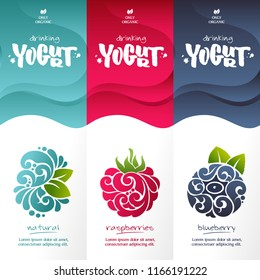 Vector set templates packaging dairy products, label, banner, poster, branding. Abstract color background with ornamental design elements - raspberry, blueberry, natural. Stylish design for yogurt