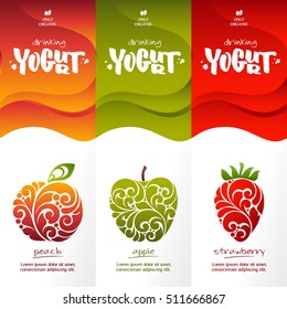Vector set templates packaging dairy products, label, banner, poster, branding. Abstract color background with ornamental design elements - peach, apple, Strawberry. Stylish design for drinking yogurt