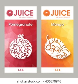 Vector set of templates packaging fruit juice, label, banner, poster, identity, branding. Abstract color background with ornamental elements mango and pomegranate. Stylish design for fruit juice