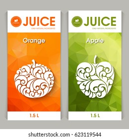 Vector set of templates packaging fruit juice, label, banner, poster, identity, branding. Abstract color background with ornamental design elements - orange and apple. Stylish design