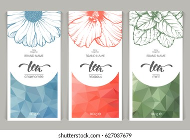 Vector set of templates packaging herbal tea, label, banner, poster, identity, branding. Abstract color background with linear graphic illustration - Chamomile, hibiscus, mint. Stylish design