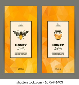 Vector set of templates packaging honey, label, banner, identity, branding. Color abstract background with ornamental illustration - honey bee, honey jars. Stylish design