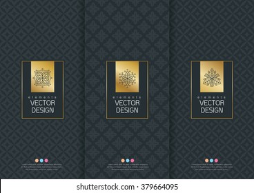 Vector set of templates packaging, labels and frames for luxury products in trendy linear style, banner,identity, branding,eamless pattern in trendy linear style, vector illustration