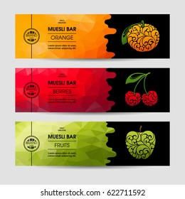 Vector set of templates packaging muesli bar, label, banner, poster, identity, branding. Color abstract background with ornamental illustration - orange, cherry, apple. Stylish design